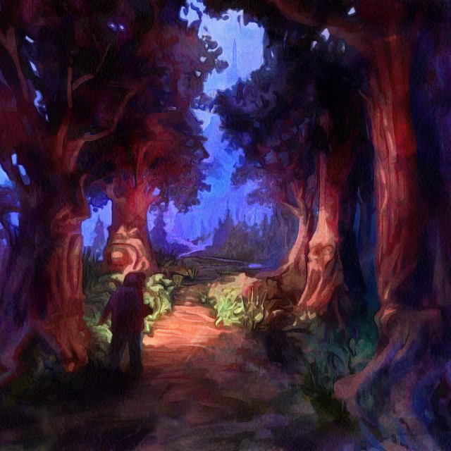 """""""Fairy forest path with a tired traveler. Evening and lanterns. Art painting. Abstract paint."""" stock image"""