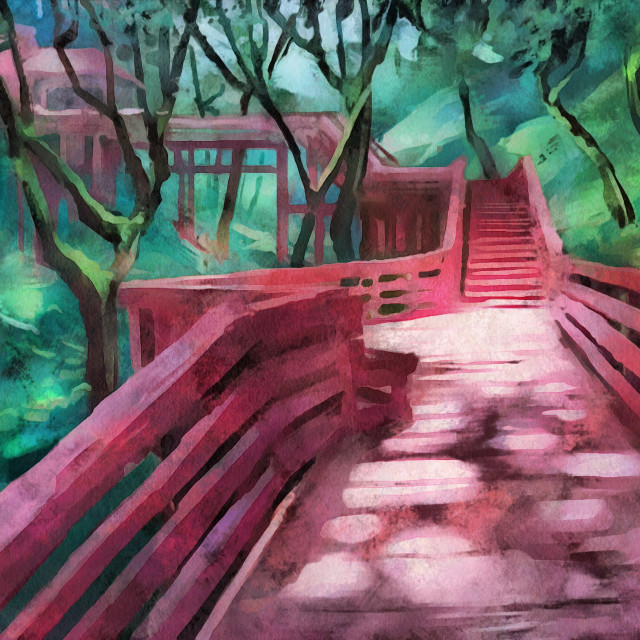 """""""Red wooden bridge in the middle of the wild jungle. Art painting. Abstract paint."""" stock image"""