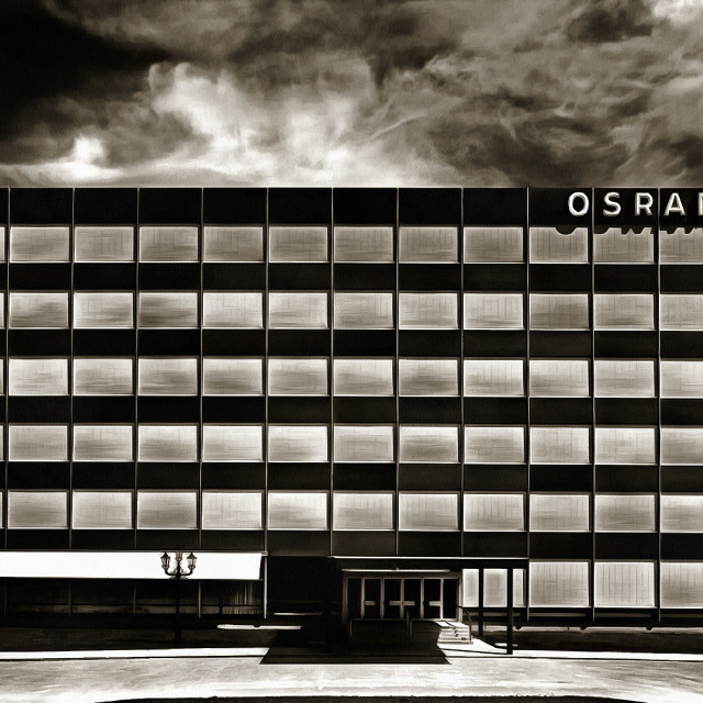 """""""The five-story OSRAM building in the late evening. Art painting. Abstract paint."""" stock image"""