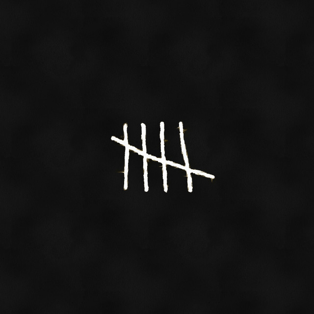 """""""Four lines crossed out by a fifth on a black background. Art painting. Abstract paint."""" stock image"""