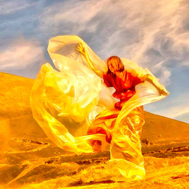 """""""Woman in the desert wrapped in plastic wrap. Strong wind. Art painting. Abstract paint."""" stock image"""