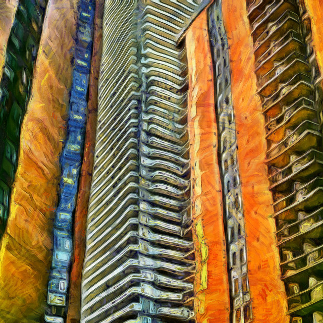 """""""Three skyscrapers view from the bottom. Art painting. Abstract paint."""" stock image"""