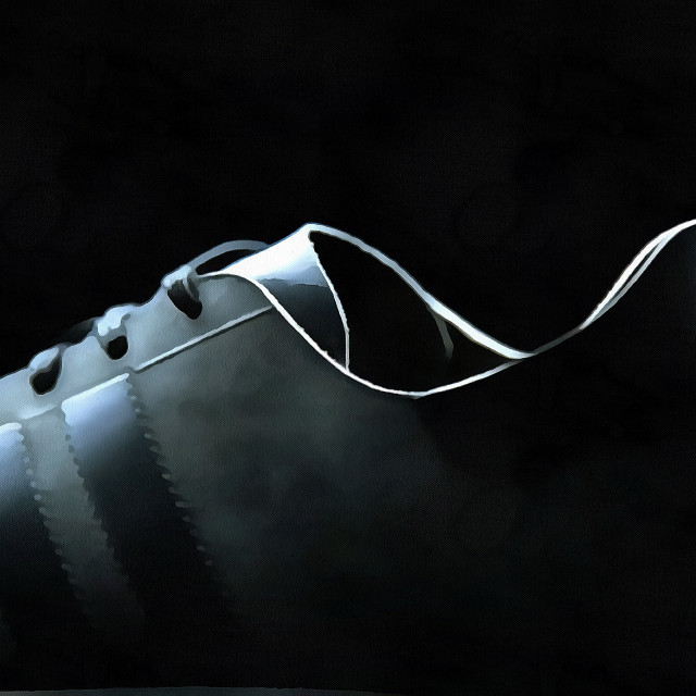 """""""Sports Sneaker on a black background close-up. Art painting. Abstract paint."""" stock image"""