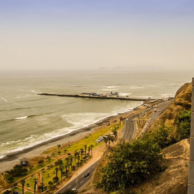 """Beaches in the Miraflores neighborhood, Lima Peru."" stock image"