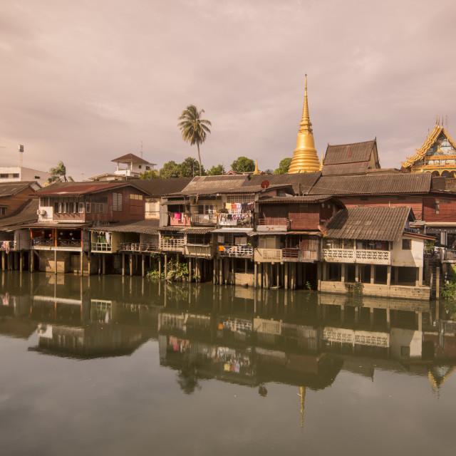 """""""THAILAND CHANTHABURI WATERFRONT WAT BOT"""" stock image"""