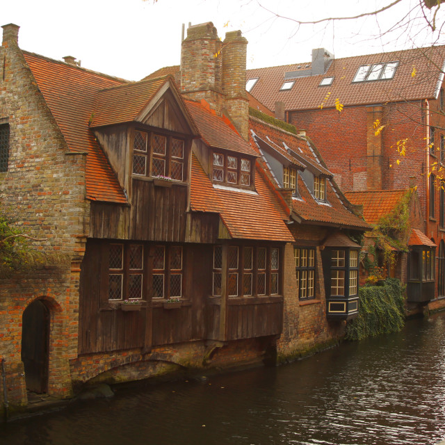 """Old Canalside Buildings in Bruges"" stock image"
