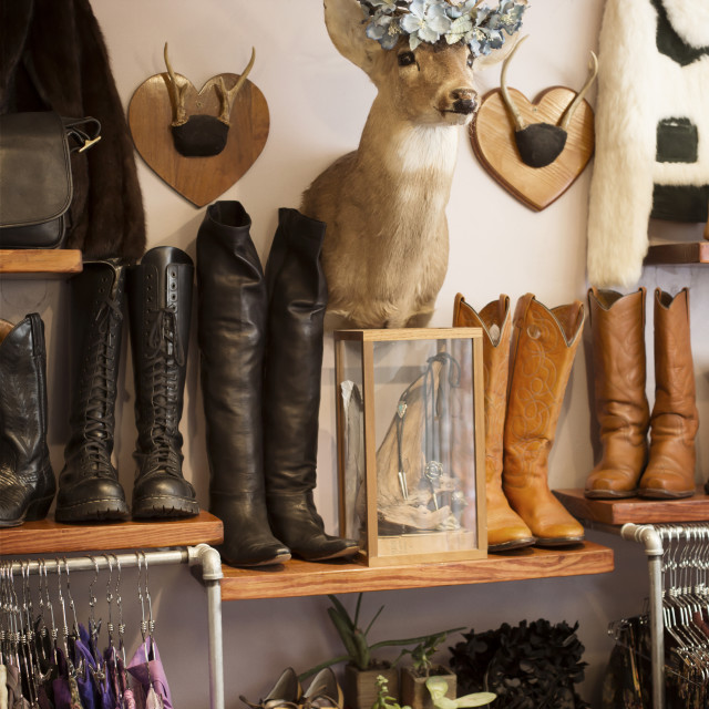 """""""Products and merchandise arranged at boutique"""" stock image"""