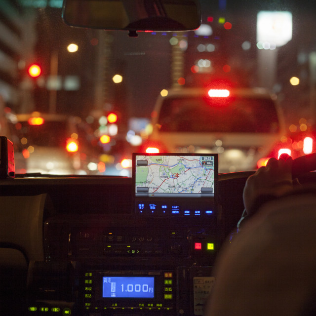 """""""GPS navigational system on dashboard of taxi"""" stock image"""