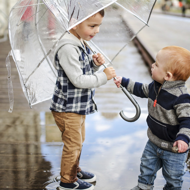 """Baby boy with brother holding umbrella while standing on wet street"" stock image"