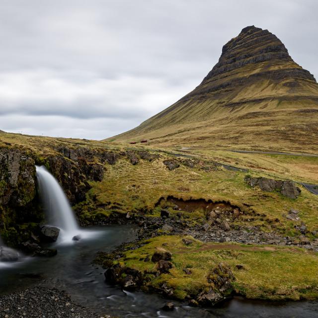 """Kirkjufell and Kirkjufellsfoss"" stock image"