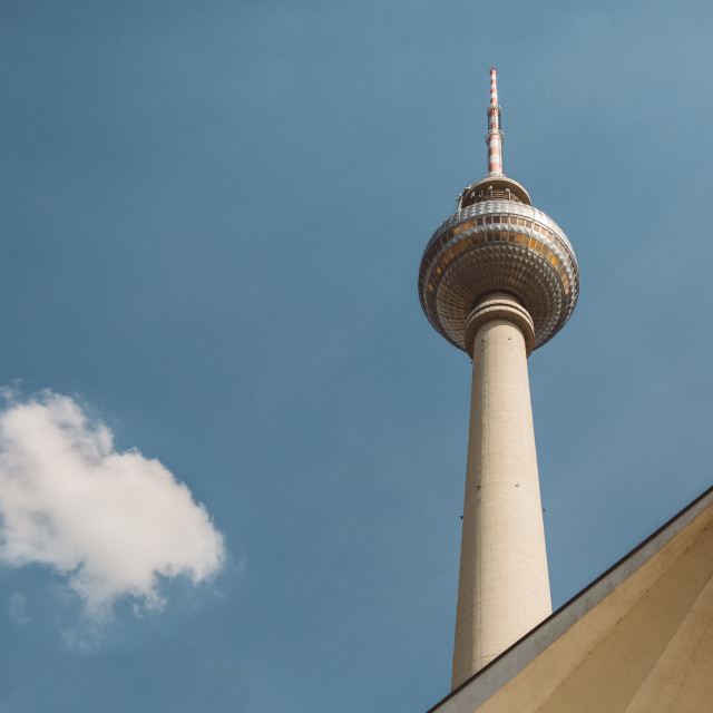 """Fernsehturm - the famous building of east Berlin in Germany against the blue sky"" stock image"