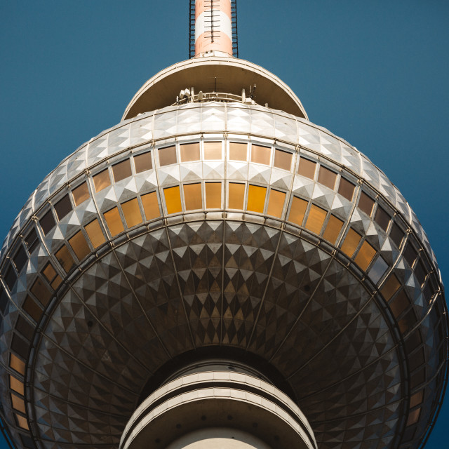 """Detail of the upper part of the Berlin landmark Fernsehturm"" stock image"