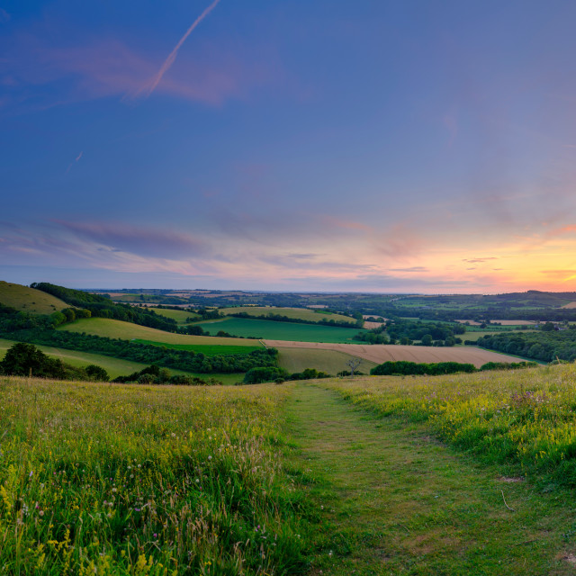 """Summer sunset from Old Winchester Hill over the Meon Valley, Sou"" stock image"