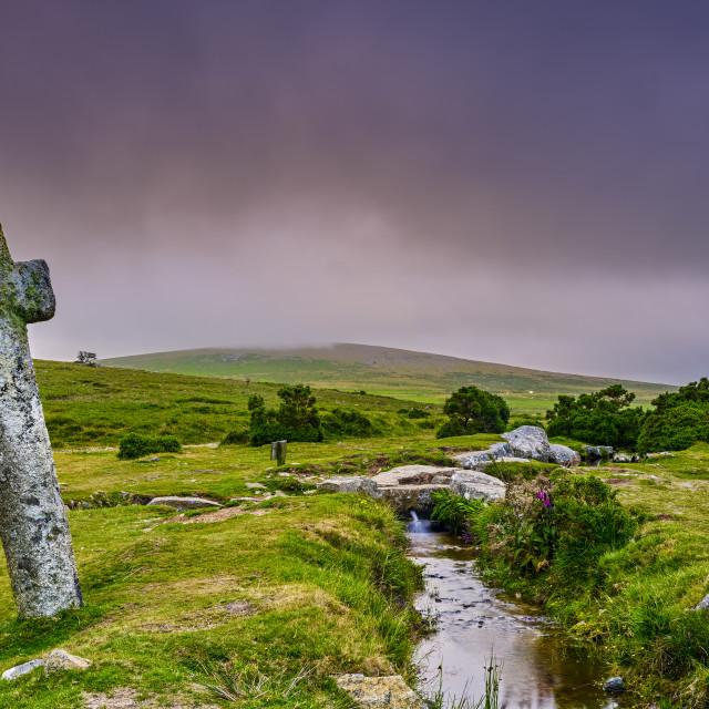 """""""Windy Post Cross on Dartmoor in the National Park, Devon, UKf"""" stock image"""