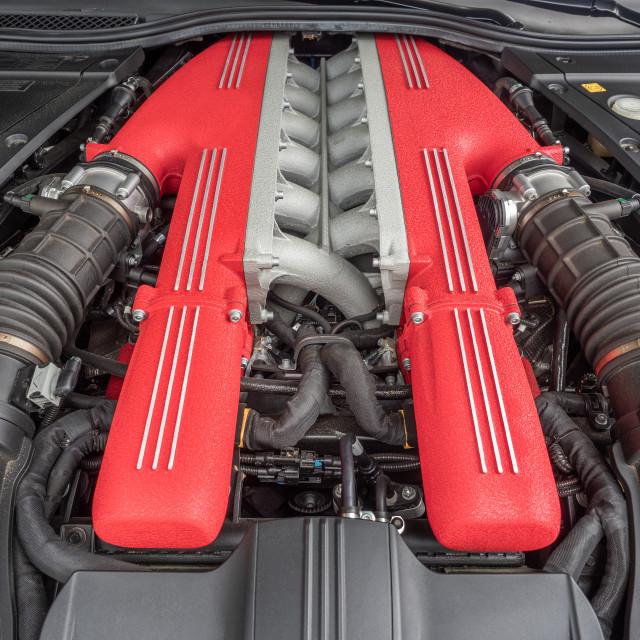"""""""Exotic V 12 Italian car engine with 789 horsepower"""" stock image"""