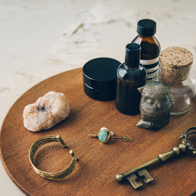 """""""High angle view of objects arranged on wooden board"""" stock image"""