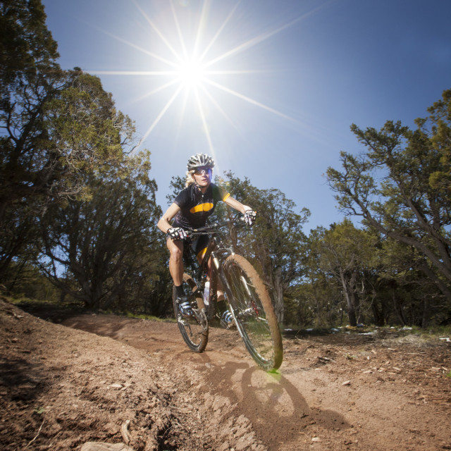 """""""Woman riding mountain bike in forest on day"""" stock image"""