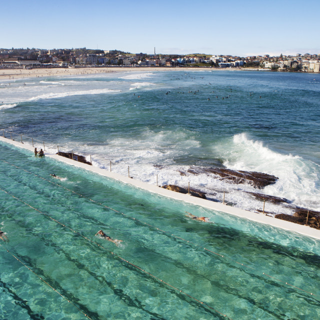 """""""High angle view of Bondi Icebergs Pool by sea against sky"""" stock image"""