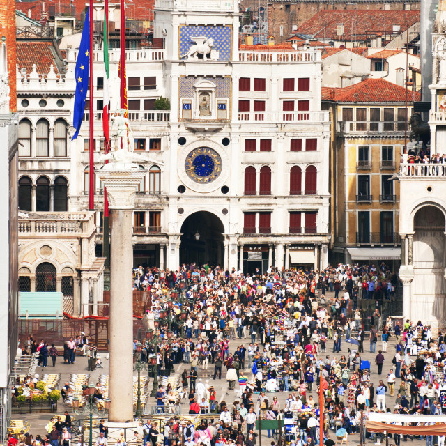 """""""High angle view of crowd at St Marks square in Venice city"""" stock image"""