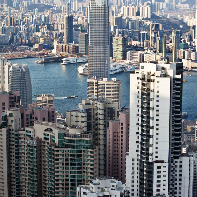 """""""Two international finance center by buildings in city"""" stock image"""