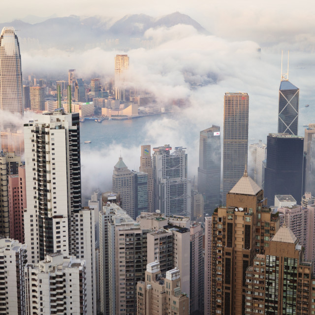 """""""High angle view of cityscape by Victoria Harbour"""" stock image"""