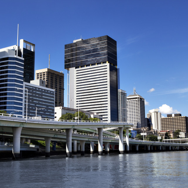 """""""Brisbane Square and buildings by river in city"""" stock image"""