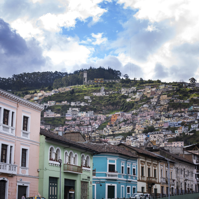 """""""Residential district on mountain against cloudy sky"""" stock image"""