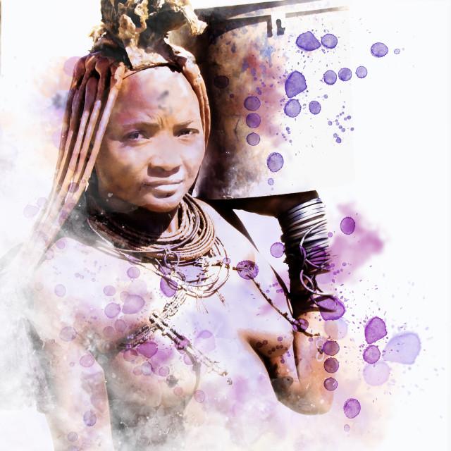 """himba portrait aquarell style"" stock image"