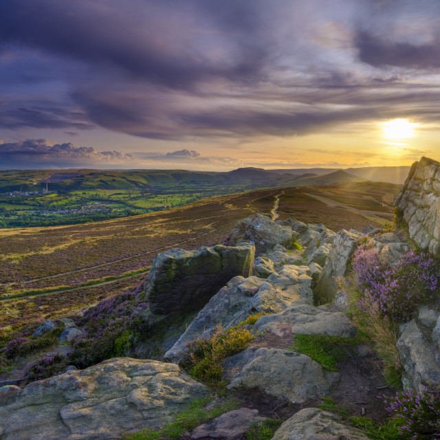 """Heather and sunset over the Hope Valley from Win Hill in the Pea"" stock image"