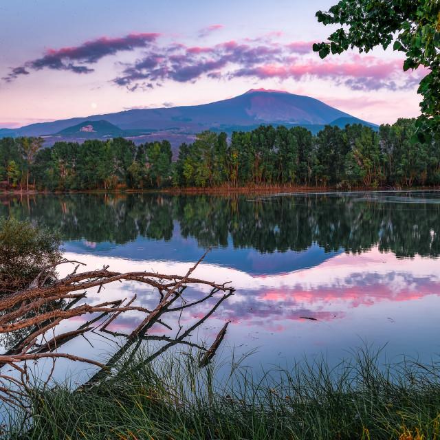 """Summer sunset at the Gurrida lake"" stock image"