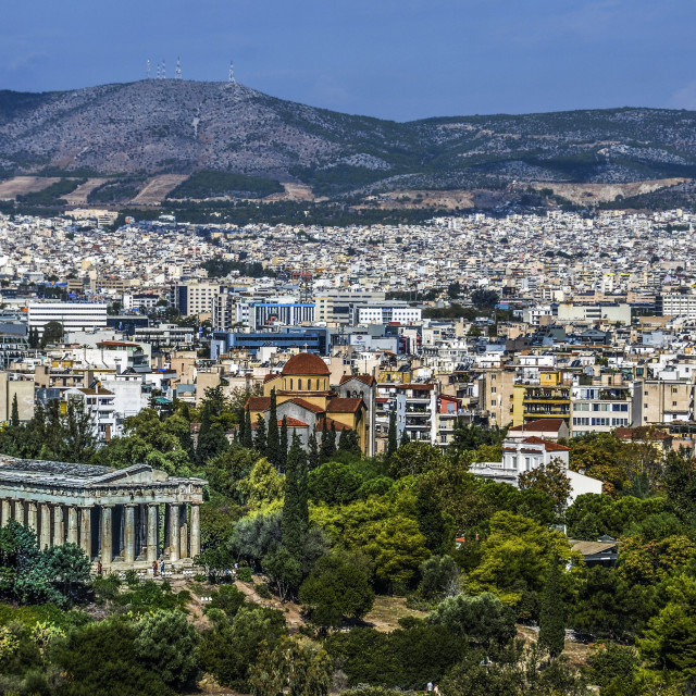 """""""Temple of Hephaestus or Hefestion and athens in the background"""" stock image"""