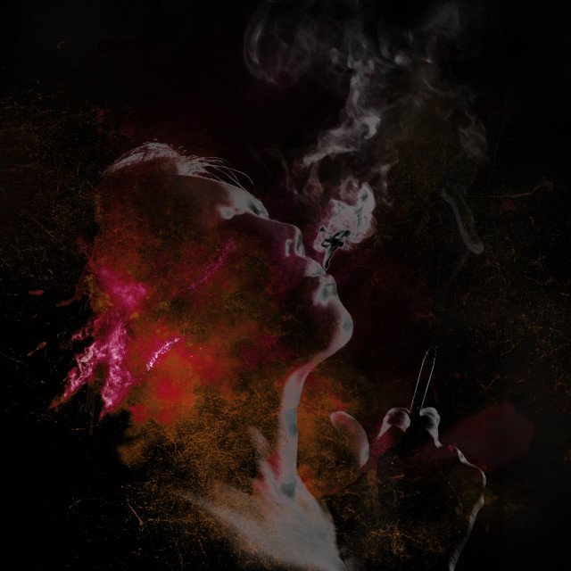 """""""smoking woman in red tones"""" stock image"""