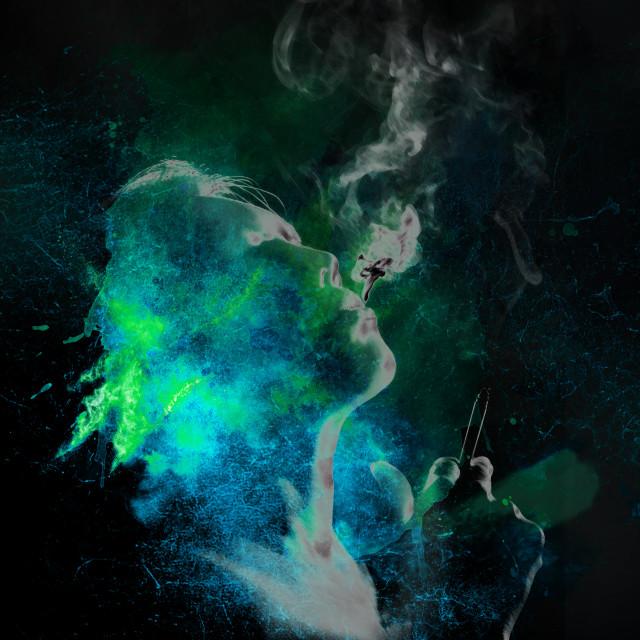 """smoking woman in turquoise tones"" stock image"
