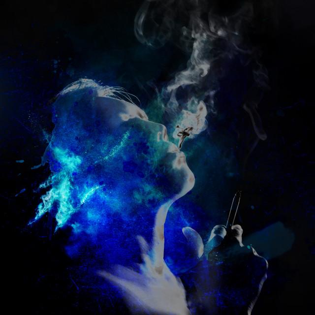 """smoking woman in blue tones"" stock image"