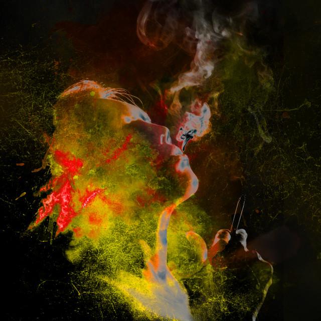 """smoking woman in bright neon tones"" stock image"
