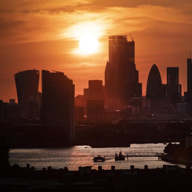 """City of London sunset"" stock image"