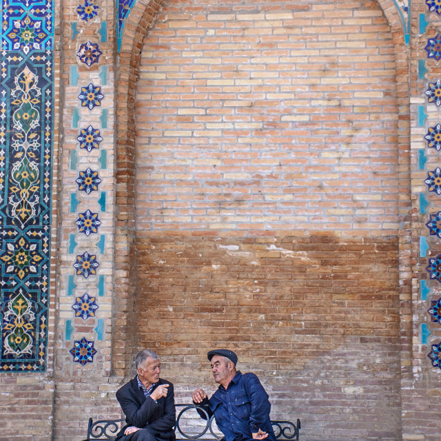 """A discussion outside Amir Temur Mausoleum"" stock image"