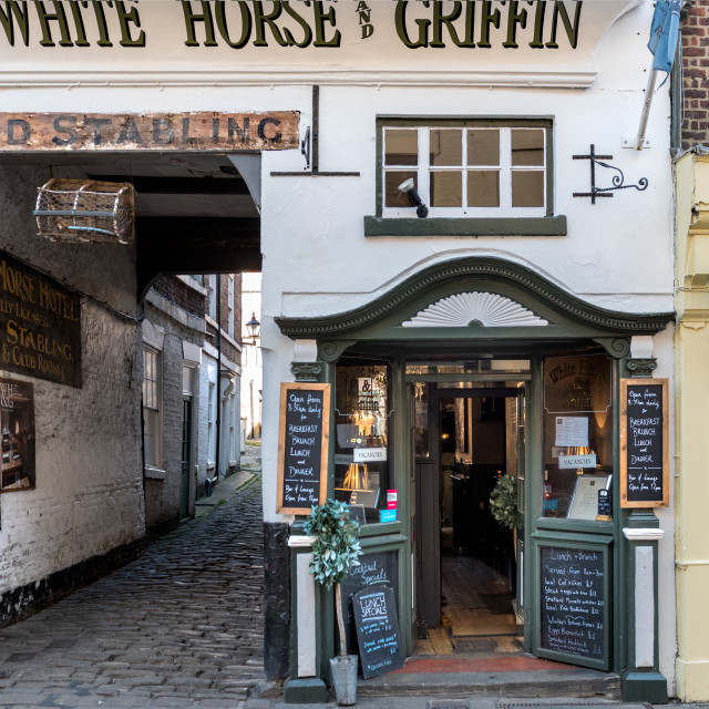 """""""The White Horse and Griffin Church Street Whitby"""" stock image"""