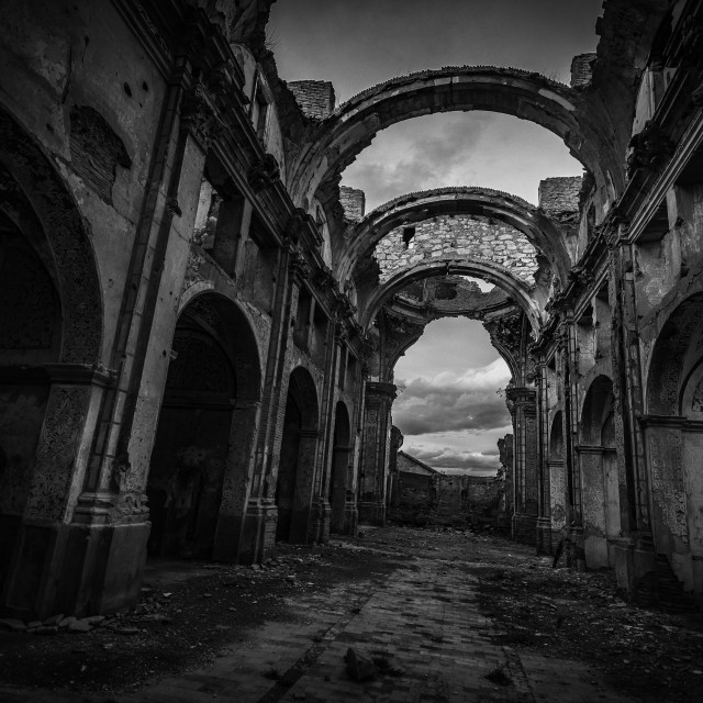 """church ruins in belchite spain. ruins of spanish war"" stock image"