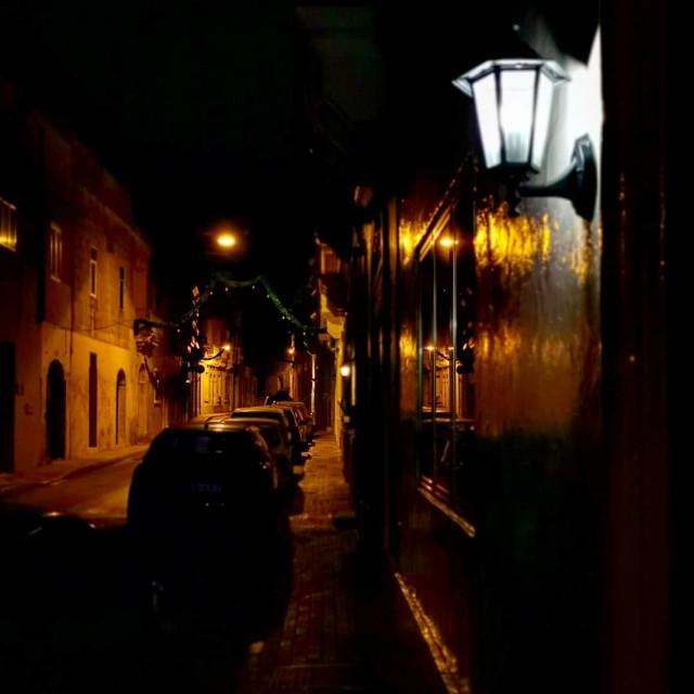 """Mosta Street at night"" stock image"