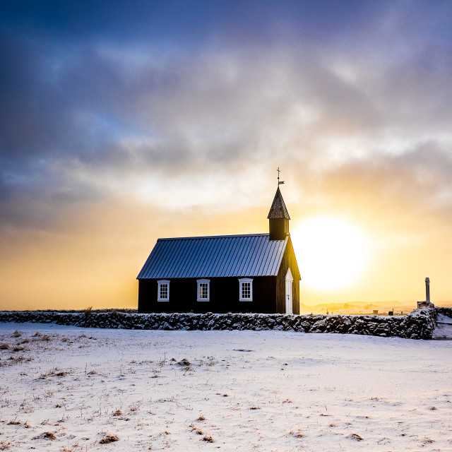 """Black church at Budir"" stock image"
