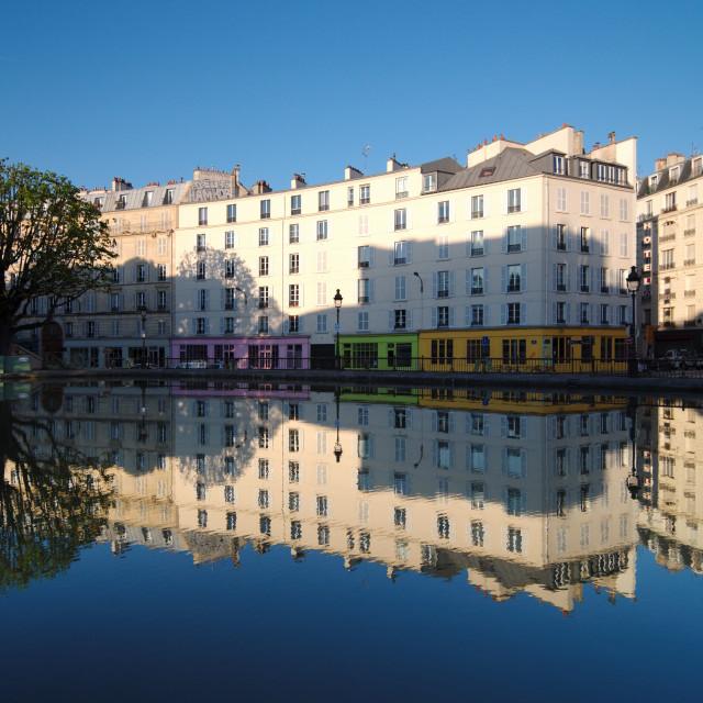 """Canal saint Martin reflection"" stock image"