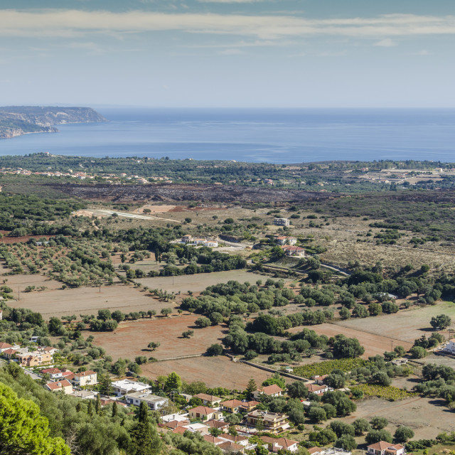 """""""plowed fields and shores of kefalonia"""" stock image"""
