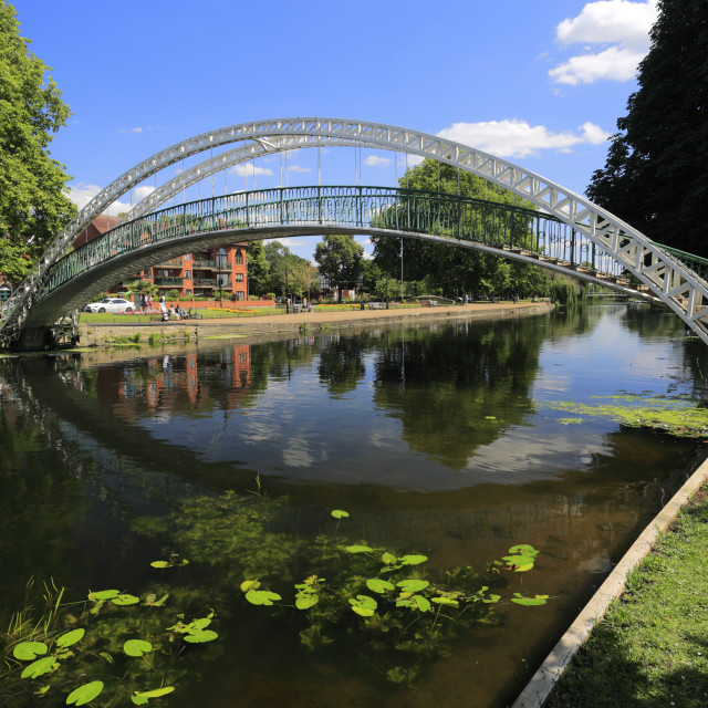 """""""Bridge over the river Great Ouse embankment, Bedford town; Bedfordshire..."""" stock image"""