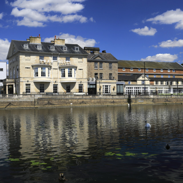 """""""The Swan Hotel, river Great Ouse embankment, Bedford town; Bedfordshire..."""" stock image"""