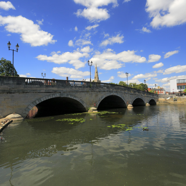 """""""Stone bridge over river Great Ouse embankment, Bedford town; Bedfordshire..."""" stock image"""