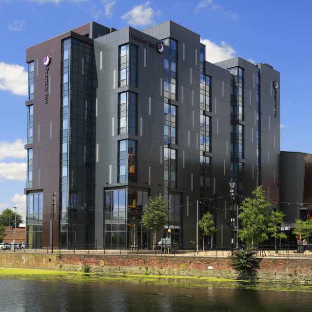 """""""Premier Inn Hotel, river Great Ouse embankment, Bedford town; Bedfordshire..."""" stock image"""