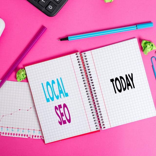 """""""Writing note showing Local Seo. Business photo showcasing helps businesses..."""" stock image"""