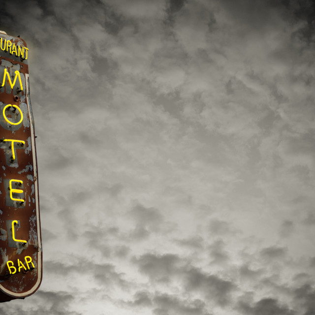 """Retro Neon Motel Sign"" stock image"
