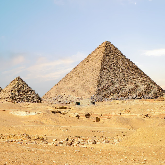 """""""Classic View of Egyptian Pyramids in the Sahara Desert"""" stock image"""